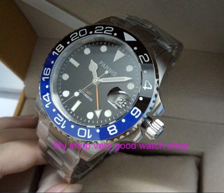17d207b9ebc 40mm PARNIS Japonês De Cristal de Safira GMT movimento máquinas Automáticas  relógio dos homens azul   Black bezel rotateing xjp8A em Relógios mecânicos  de ...