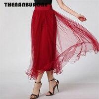 THENANBURONE Marque Nouveau Dames De Mode D'été Jupe Plissée Jupe Longue Tulle Jupes Femmes Big Swing Maxi Tutu Maille Jupe Patineuse
