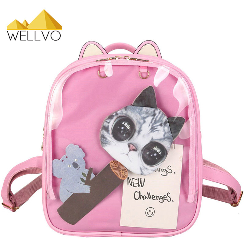 где купить  Cat Ears Transparent Backpack Women Cute Clear Backpacks Leather School Bags For Teenage Girls Rucksack Kids White Bag XA1980C  по лучшей цене
