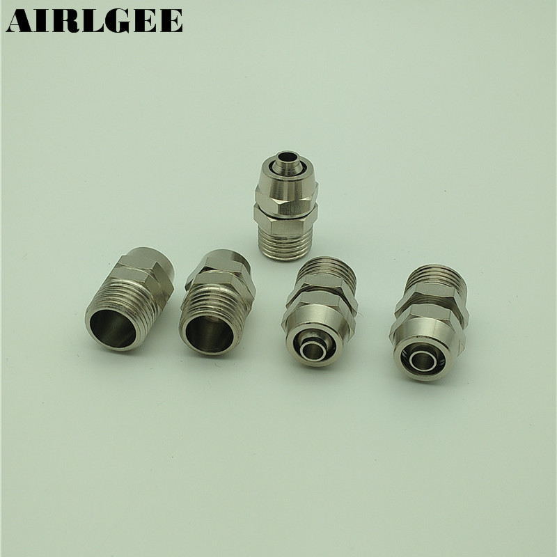 5 Pcs 1/4 PT Thread 8mm x 5mm Tube Pneumatic Fittings Quick Connector Coupler 9 pcs 3 8 pt male thread 8mm push in joint pneumatic connector quick fittings