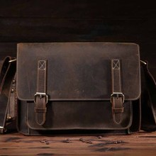 1055.Genuine Leather Men Bag Crazy Horse Leather Men's Handbags Casual Business Laptop Shoulder Bags Briefcase Messenger bag NEW