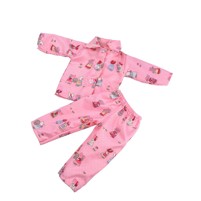 2018 Hot Sale Cute Pajamas Nightgown Clothes For 18 inch Our Generation American Girl Doll's Clothing Dolls Accessories
