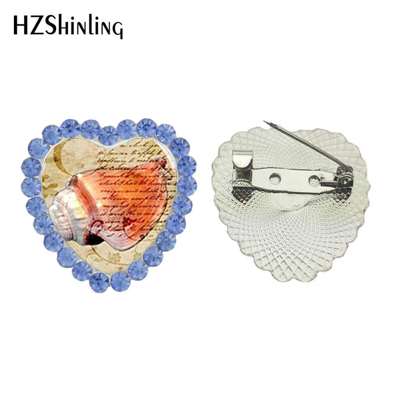 2017 Baru Laut Shell Crystal Bros Pin Gurita Jantung Breastpin Foto Seni Perhiasan Kaca Bros Perhiasan Wanita Aksesoris Pakaian