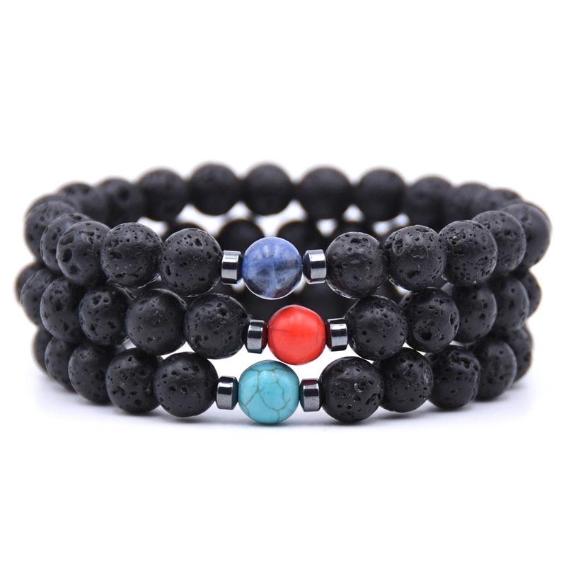 HYHONEY Lava Stone 8MM Beads Bracelet Men Strand Bracelets For Women Men Jewelry Charm Pulseras mujer