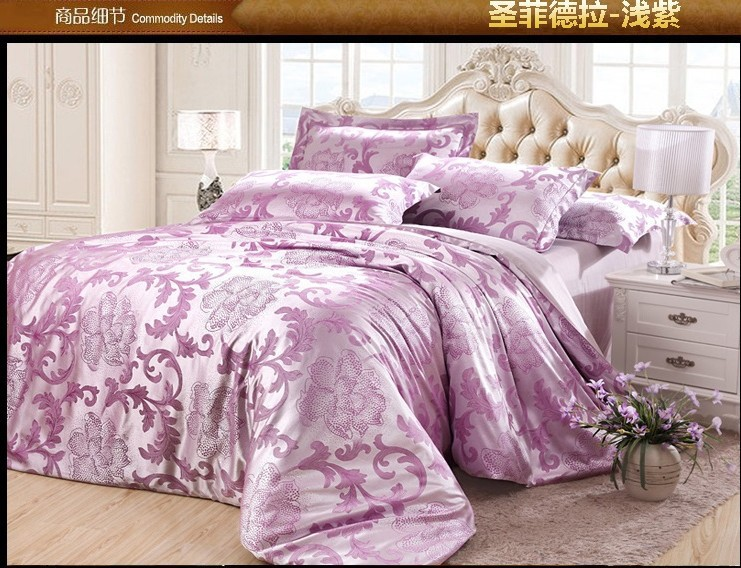 luxury lilac mauve satin jacquard bedding set king queen. Black Bedroom Furniture Sets. Home Design Ideas