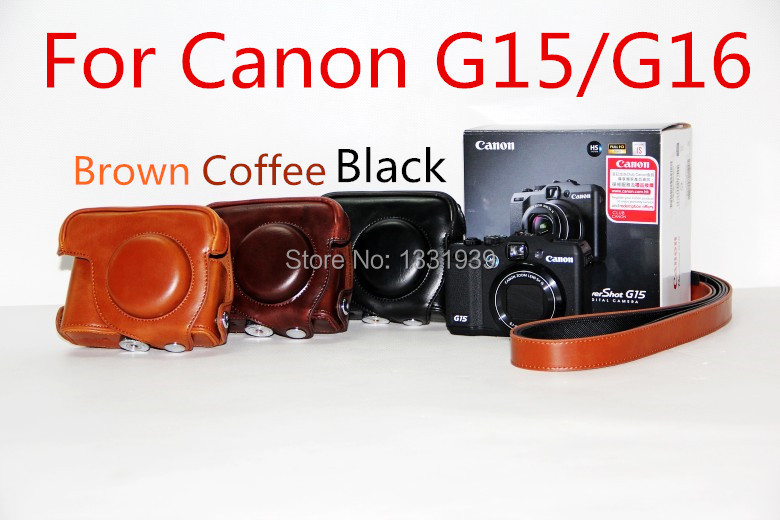 Free shipping New PU Leather Camera Bag Case Cover With Shoulder Strap For Canon G15 G16 in Black/Brown/Coffee,Free shipping