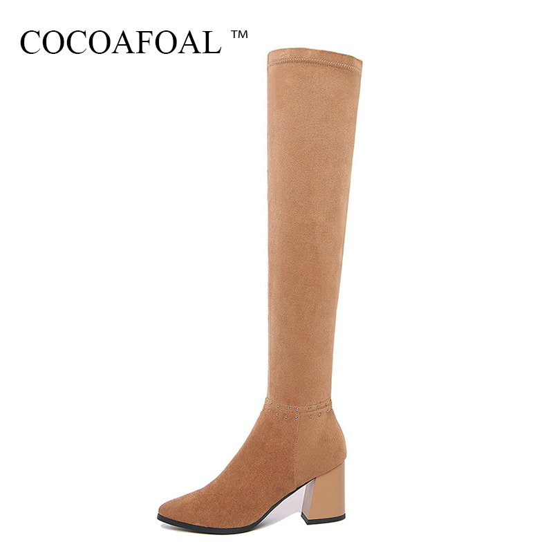 COCOAFOAL Women Winter Crystal Over The Knee Boots Plus Size 33 41 Sexy Black High Heeled Shoes Genuine Leather Thigh High Boots cocoafoal women sexy black high heeled shoes genuine leather thigh high boots plus size 33 41 winter chelsea over the knee boots