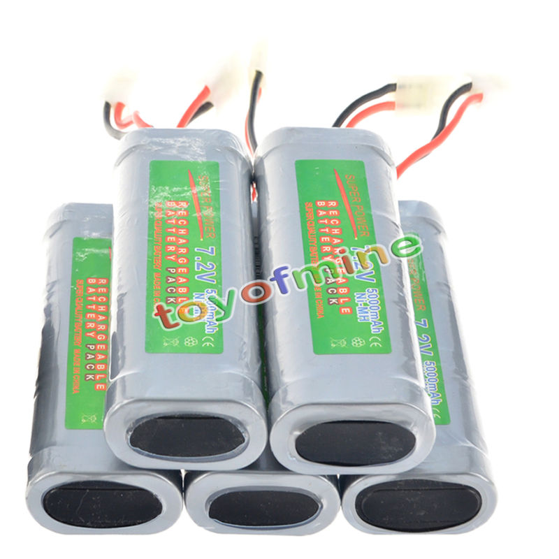 5pcs 7.2V rechargeable battery pack 5000mAh Ni-Mh cell5pcs 7.2V rechargeable battery pack 5000mAh Ni-Mh cell