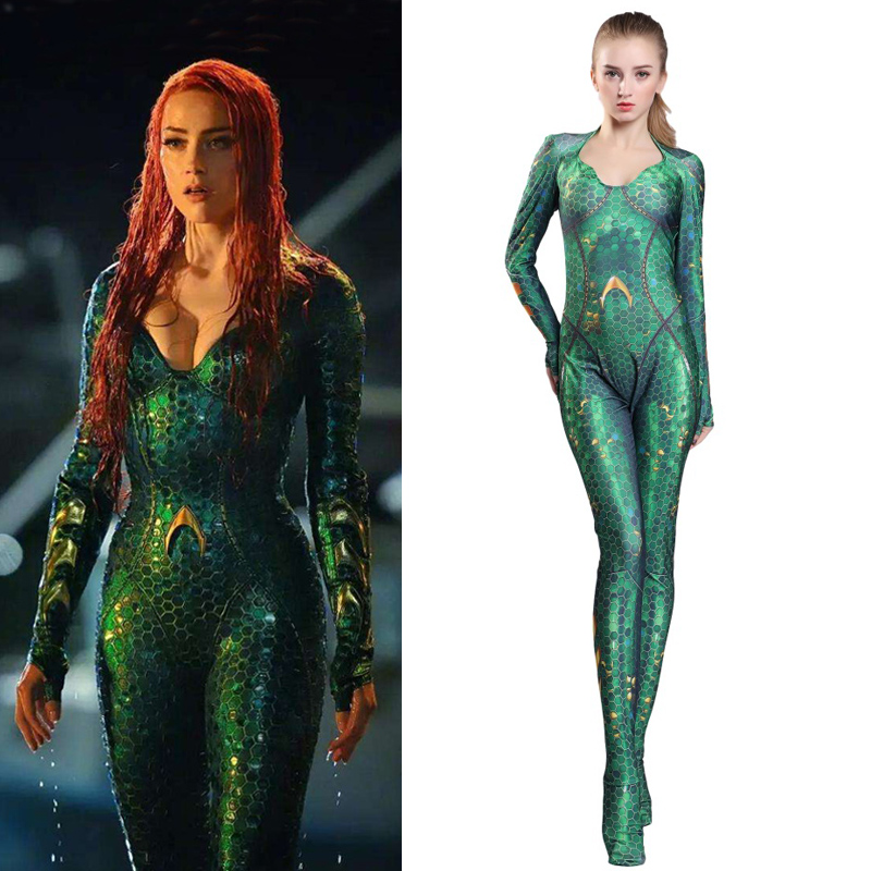 Adult/Kids Quinn Mera Jumpsuit Cosplay Mera Printing Sexy Bodysuit Women Girl Aquaman Queen Costume