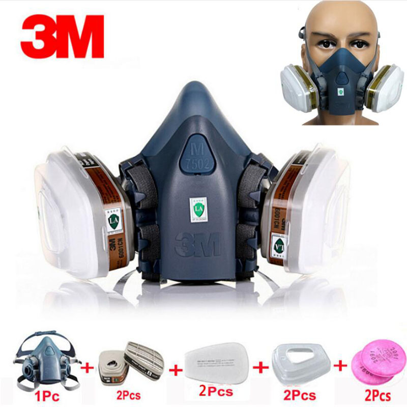 9 In 1 Suit Gas Mask Half Face Respirator Painting Spraying For 3 M 7502 N95 6001cn Dust gas Mask Respirator-in Chemical Respirators from Security & Protection