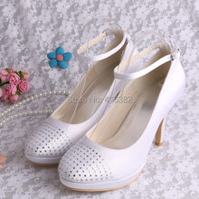 Wedopus Customized Handmade Woman Party Shoes Pumps with Rhinestones White Satin 10CM