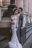 Fashionable Mermaid Wedding Dress 2018 Sweetheart Corset Lace Appliqued Bridal Gowns vestidos de novia