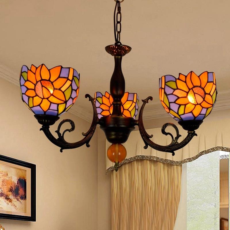American garden Tiffany, color glass, blue floor, sunflower restaurant, three glazed chandeliers.|Pendant Lights| |  -