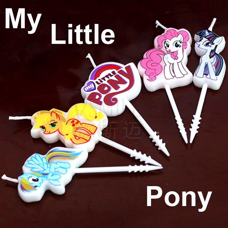 Us 19 28 Off5 Buahset Saya Pony Kartun Ulang Tahun Anak Anak Kue Cupcake Toppers Anak Perempuan Kreatif Kue Ulang Tahun Dekorasi Lilin