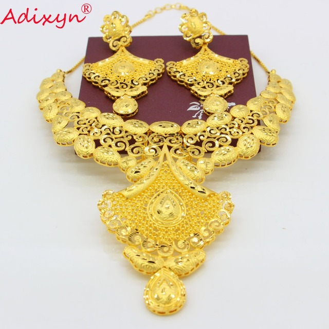 Adixyn India Bridal Wedding Jewelry Set Gold Color Copper Necklace Earrings Arab Dubai Party Mom