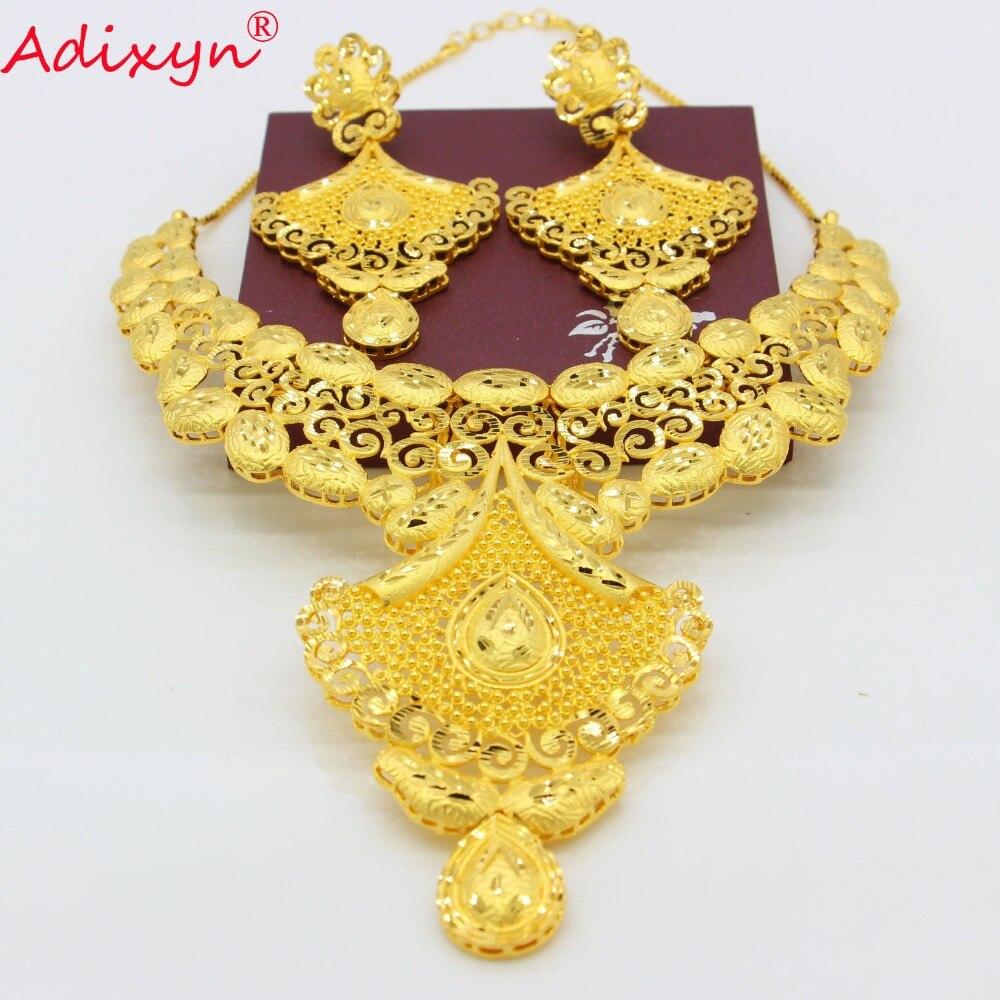 Adixyn inde nuptiale mariage bijoux ensemble couleur or/cuivre collier boucles d'oreilles arabe Dubai fête maman cadeaux N08095-in Parure de bijoux pour mariée from Bijoux et Accessoires    1