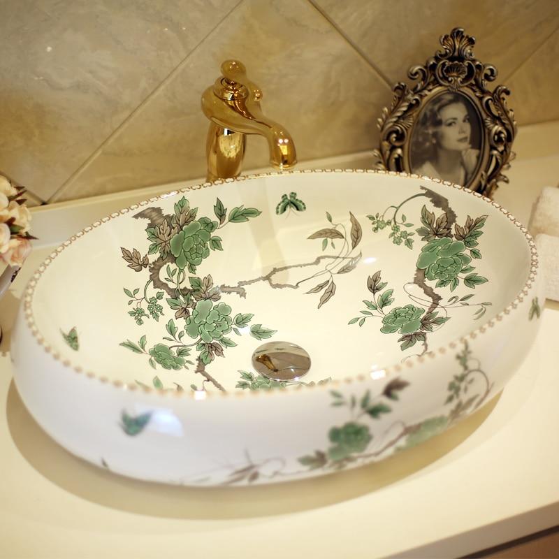 Europe Vintage Style Ceramic Washing Basin Bathroom Counter Top Bathroom  Sink Oval Ceramic Wash Basin