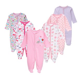Image 2 - 6pieces/lot Baby rompers Newborn Baby Girls Boys Clothes 100% Cotton Long Sleeves Baby Pajamas Cartoon Printed Babys Sets