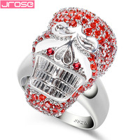 Jrose Wholesale Fine Jewlery Red & White Cubic Zirconia 925 Sterling Silver Skull Ring Size 6 7 8 9 For Men Party Dazzling Gifts