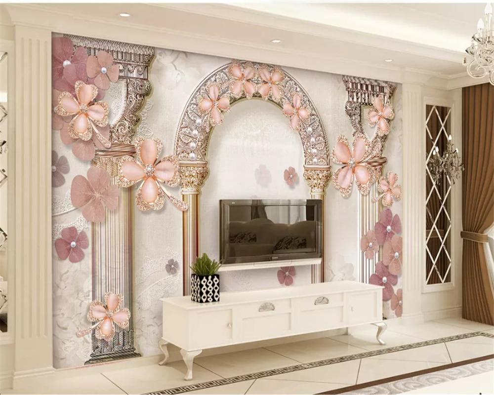 Beibehang Vinyl Wall European Flower Wallpaper Jewelry TV Sofa Background Custom Photo Wallpaper Mural Papel De Parede Behang