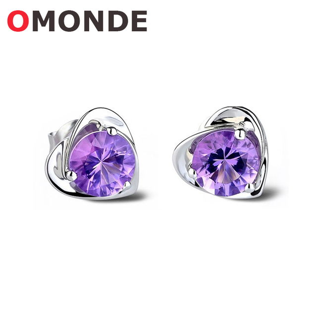 Omonde New Arrival Femele Sweet Heart Purple Color Crystal Stone Stud Earrings For Women S Fashion