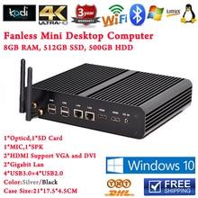 8GB RAM 512GB SSD 500GB HDD Compact PC 2HDMI+2Lan SD Card Fanless Mini PC Windows TV Box Intel Core i7 5500U Free Shipping
