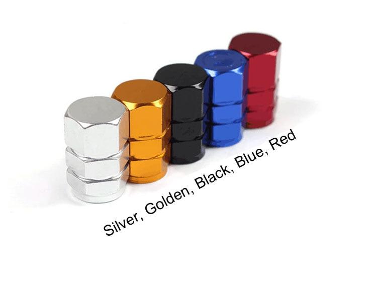 4 Aluminum Tire Wheel Rims Stem Air Valve Golden Tyre Cover Car Truck Bike