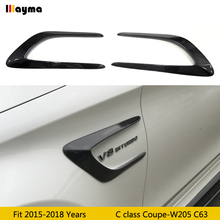 Carbon Fiber Car Racing Side Fender Vents Trims Canards for Mercedes Benz C-Class W205 C63 AMG Coupe 2015 2016 2017 2018 year