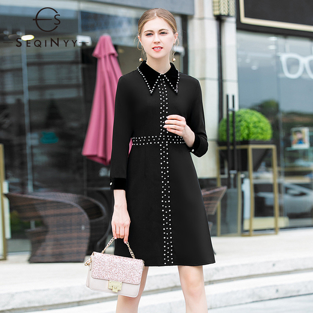 e8aaedee3 SEQINYY Casual Dress 2019 Early Spring Woman's New Fashion High Street Long  Sleeve Elegant Luxurious Diamonds A-Line Mini Dress