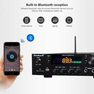 Image 4 - SUNBUCK 150W + 150W HiFi Senza Fili di Bluetooth Stereo Digitale Amplificatore di Karaoke Amplificatore Audio Home Theater di Sostegno USB/ carta di DEVIAZIONE STANDARD