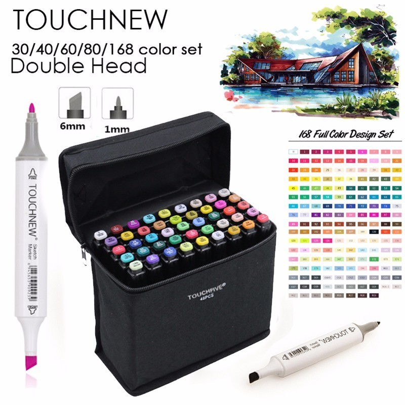 TOUCHNEW 30/40/60/80 Colors Art Markers Alcohol Based Markers Drawing Pen Set Manga Dual Headed  Art Sketch Marker Design Pens free shipping alcohol oil two headed art mark pen six generations upgrade 36 60 80 color fine markers manga drawing finecolour