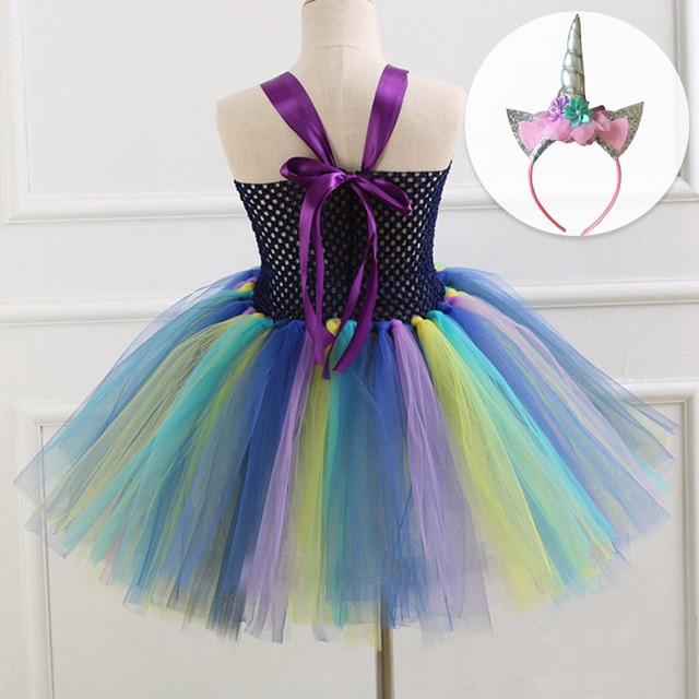 dffb47b0642 Fashon Style Girls Unicorn Mesh Dress With Headband Fancy Girl Party Dress  Rainbow Tulle Princess Dress Kids Halloween Costume