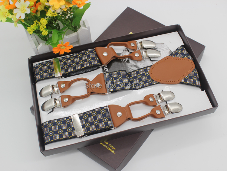 2019 New Fashion Checks Vintage Braces Leather Suspenders Adjustable 6 Clip Men's Suspenders Fashion Clothing Recessionista