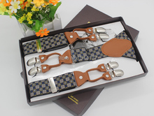 2015 New fashion checks vintage suspenders leather Adjustable 6 clip Mens clothing recessionista