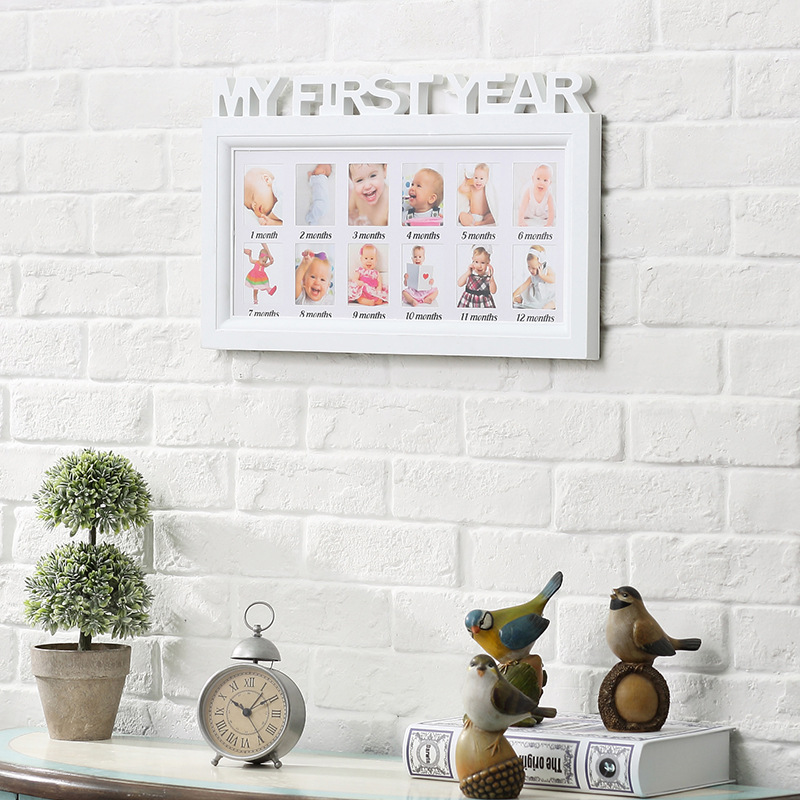 My First Year Multi-Photo Wall Picture Frame - Baby/Kids - 12 Months ...
