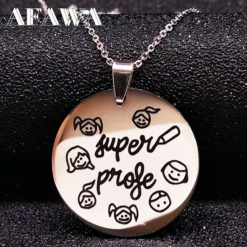 Stainless Steel Kids Pendant Necklace Choker Jewelry Women Souvenir Jewelry Student Teacher Day Gifts la mejor profesora ND22A