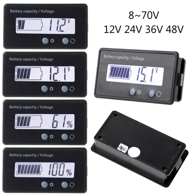 12В/24В/36В/48В ЖК-свинцово-кислотный литиевый аккумулятор ёмкость вольтметр с индикатором напряжения электрический мотоцикл скутер батарея т...