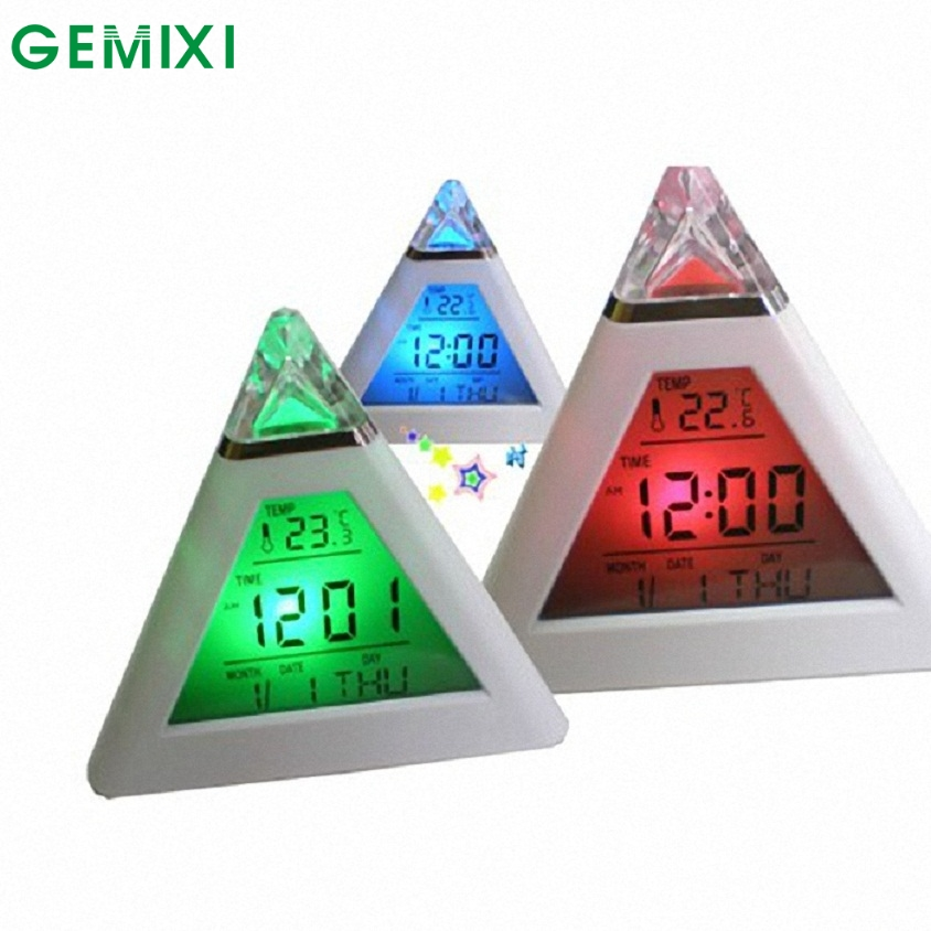 FB 24 Mosunx Business Hot Selling Fast Shipping New Fashion Pyramid Temperature 7 Colors LED Change Backlight LED Alarm Clock