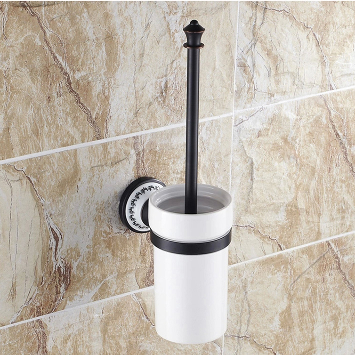 Bathroom Wall Mount Toilet Brush Set Oil Rubbed Bronze Holder Insert a White Porcelain cup a