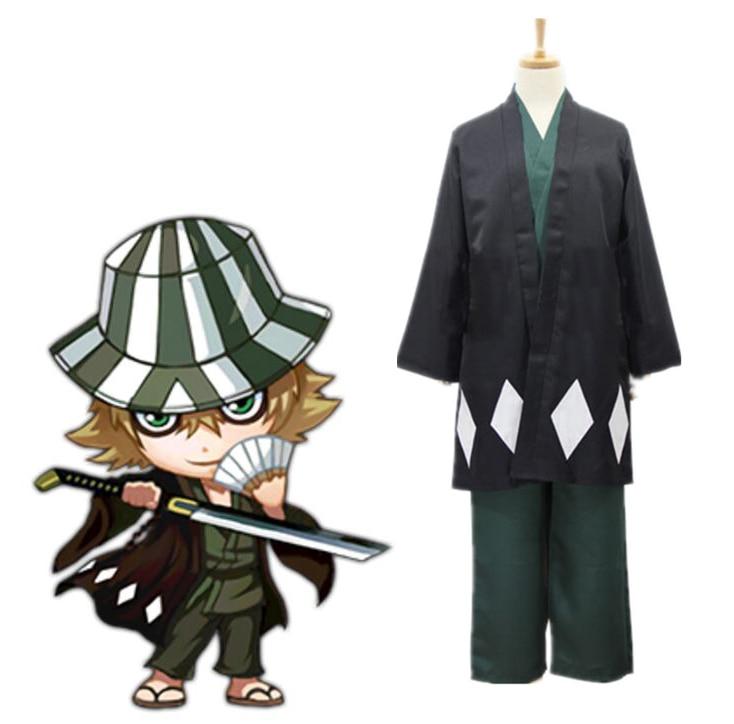 Anime BLEACH Urahara Kisuke Cosplay Costume Full Set Kimono Cloak Top Pants Halloween Clothes