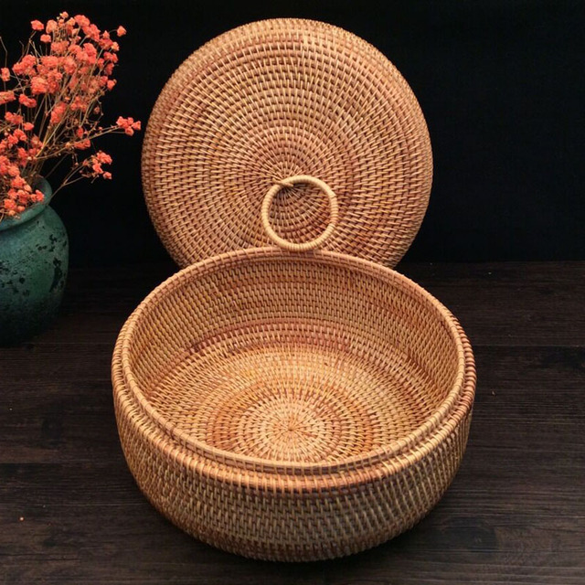 Autumn Rattan Weave corbeille fruit basket Round organizers box dried fruit candy snacks dessert food storage container with lid