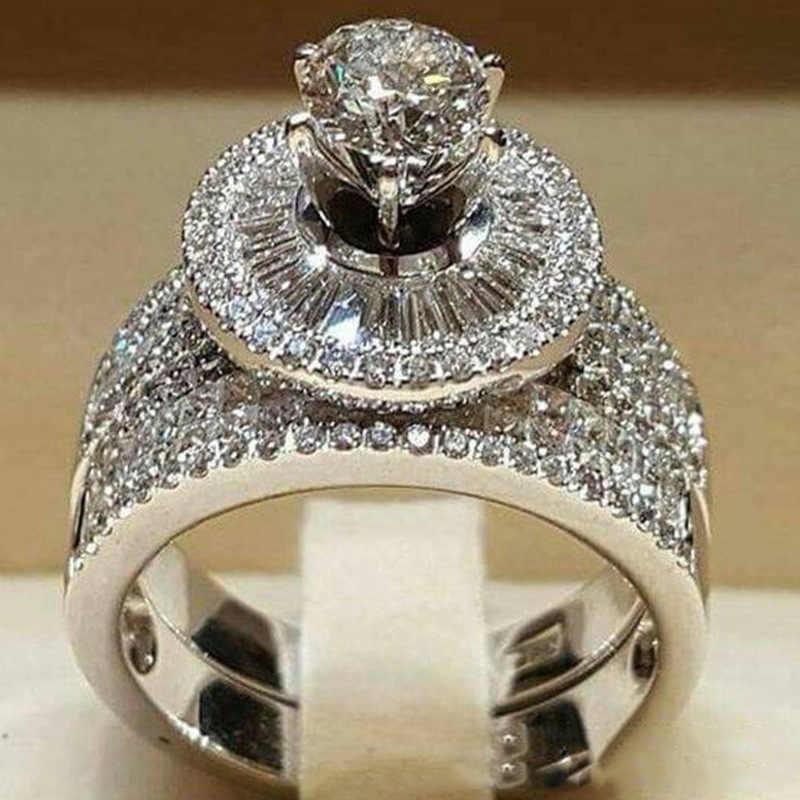 แฟชั่นผู้หญิงคริสตัล Zircon แหวนหินชุดน่ารัก 925 เงินงานแต่งงานแหวนหรูหรารักหมั้นแหวน
