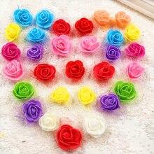 20Pcs/lot 3.5cm Mini PE Foam Roses Handmade DIY Wreath Wedding Decoration Multi-use Artificial Flower Heads Home Garden Supplies