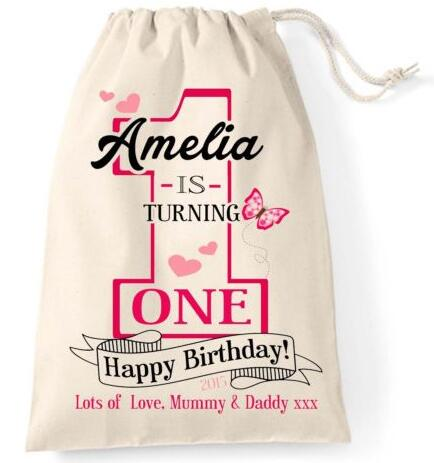 Online get cheap personalized baby girl gifts aliexpress personalized baby girl or boy 1st first birthday hangover keepsake present favor gift bags bridal shower negle Images
