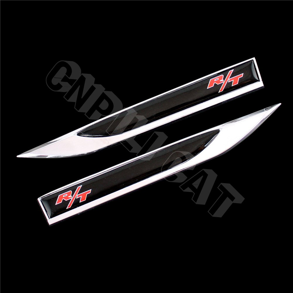 2pcs r t logo car body side fender knife emblem stickers for dodge charger challenger