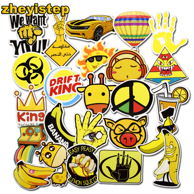 50 pcs yellow stickers for car styling skateboard bicycle motorcycle jdm laptop luggage home decor decals