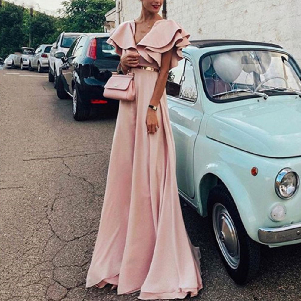 Plus Size 5XL High Quality Women Fashion 2019 Summer Ruffle Party Evening Long Style Dress Sexy V Neck Tunic Floor Length Dress