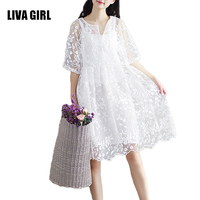 Girl Chiffon Dress White Color High Waist Embroidery Lace Women Dress Half Dress O Neck Two