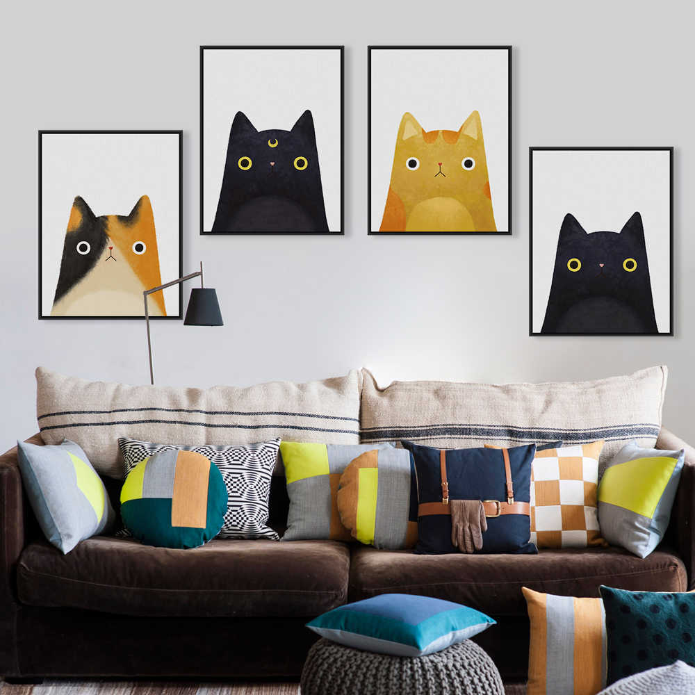 Modern Watercolor Cute Cat And Avatar Poster Print Canvas Painting Picture Decoration Home Aisle Wall Art Decoration Custom