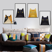 Modern Watercolor Cute Cat And Avatar Poster Print Canvas Painting Picture Decoration Home Aisle Wall Art Custom